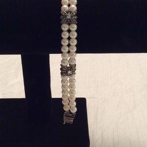 JUDITH JACK Silver Pearl, Marcasite & CZ Bracelet